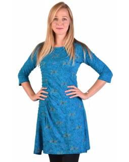 Tyrkysové šaty s tříčtvrtečním rukávem a potiskem květin, sklady na boku, výšivk