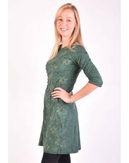 Tmavě zelené šaty s tříčtvrtečním rukávem a potiskem květin, sklady na boku, výš