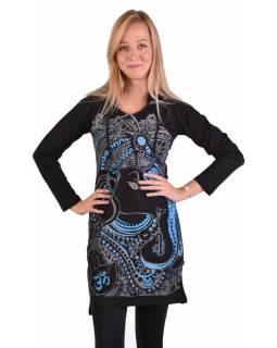 Krátké šaty s dlouhým rukávem a kapucí, černé, modro-šedý potisk Ganeshi