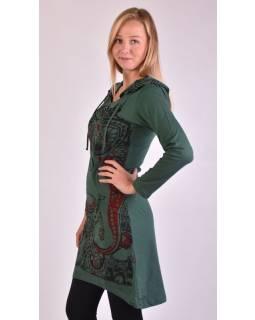 Krátké šaty s dlouhým rukávem a kapucí, zelené, vínovo-černý potisk Ganeshi