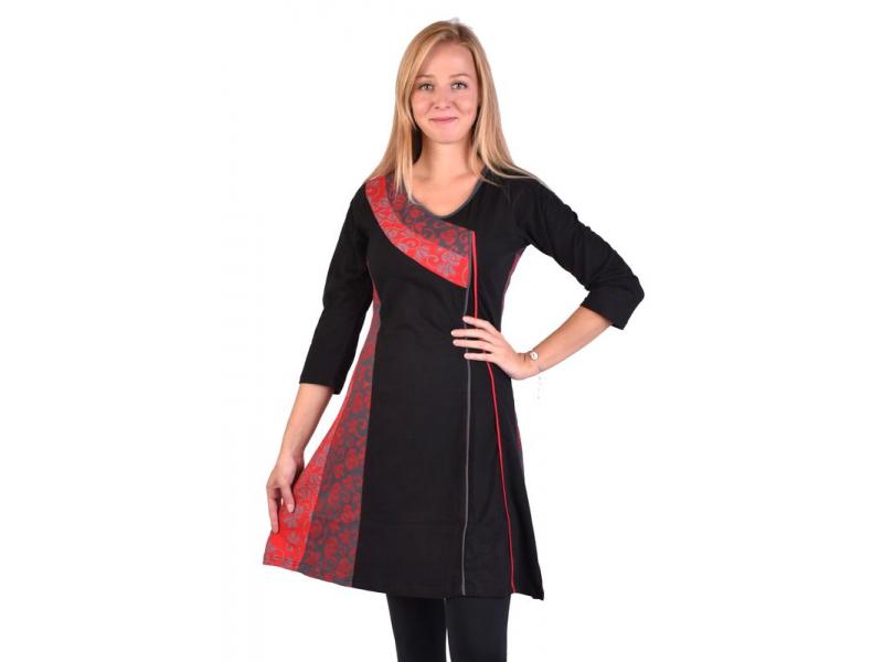 Krátké šaty s 3/4 rukávem, černo-červené, potisk květin