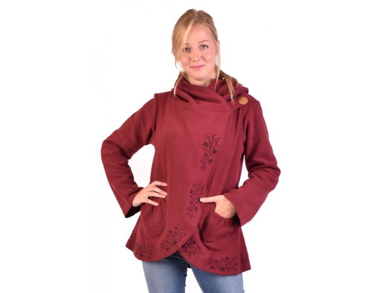 Vínový kabát s kapucí zapínaný na knoflík, květinová výšivka