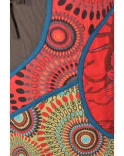 Hnědo červená minisukně s potiskem a výšivkou, mix tisků, tkanička v pase