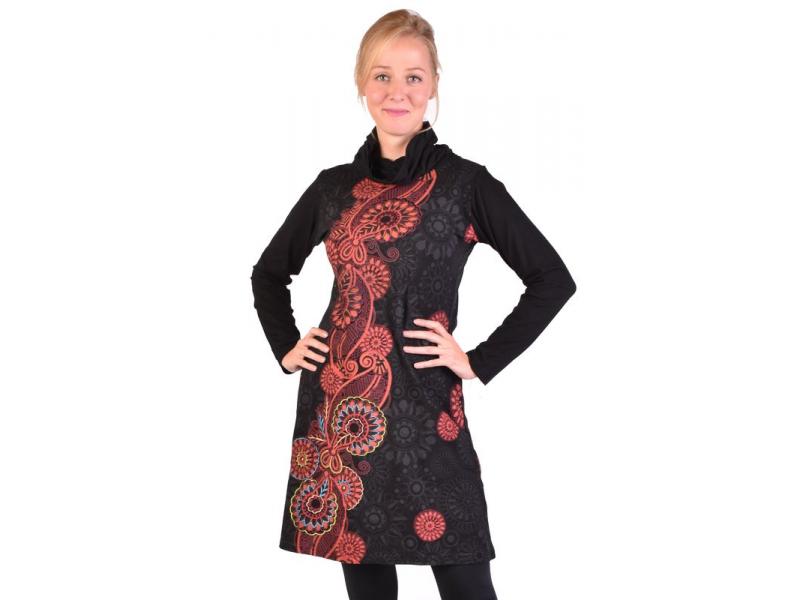 Krátké šaty s dlouhým rukávem a vysokým límcem, černé, paisley design, potisk