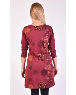 Krátké šaty s dlouhým rukávem, vínová, potisk květin