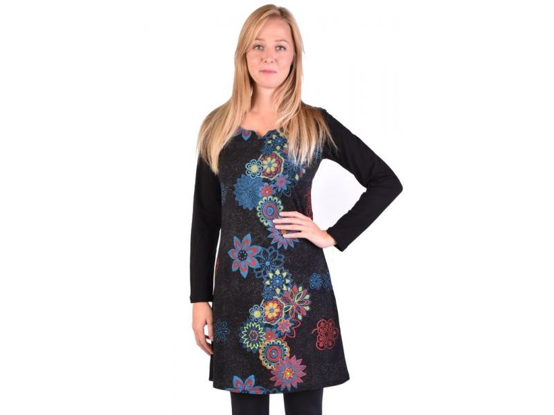 Krátké šaty s dlouhým rukávem, černé, potisk květin
