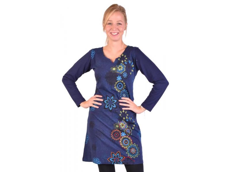 Krátké šaty s dlouhým rukávem, tmavě modrá, potisk květin