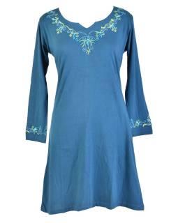 Krátké šaty s dlouhým rukávem, modré, výšivka