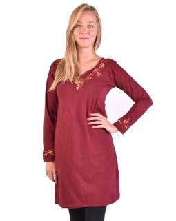 Krátké šaty s dlouhým rukávem, vínové, výšivka
