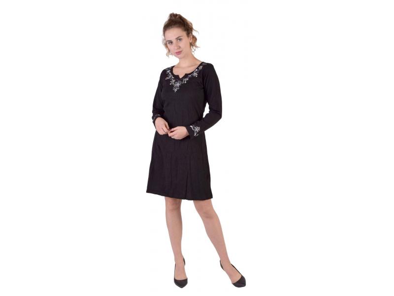 Krátké šaty s dlouhým rukávem, černé, výšivka