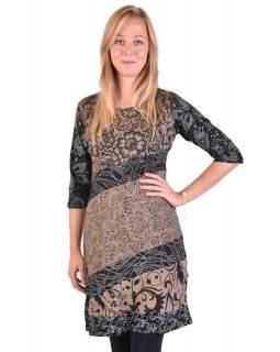 Hnědo-černé šaty s květinovým potiskem a tříčtvrtečním rukávem