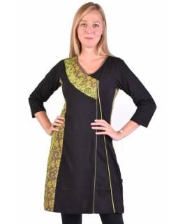 Krátké šaty s 3/4 rukávem, černo-zelené, potisk květin