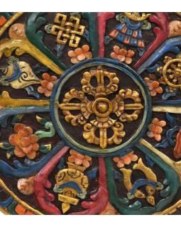 Dřevěný panel, Aštamangala, 8 šťastných symbolů, ručně malované, 38x38x2cm