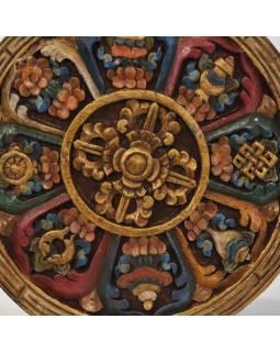 Dřevěný panel, Aštamangala, 8 šťastných symbolů, ručně malované, 29x29x2cm