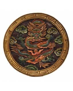 Dřevěný panel, tibetský drak, ručně malované, 29x29x2cm