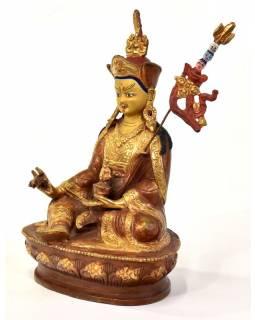 Guru Rinpoche, Padmasambhava, kovová soška, pozlacená, 14x12x22cm