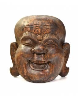 Dřevěná maska, smějící se buddha, 21x10x22cm