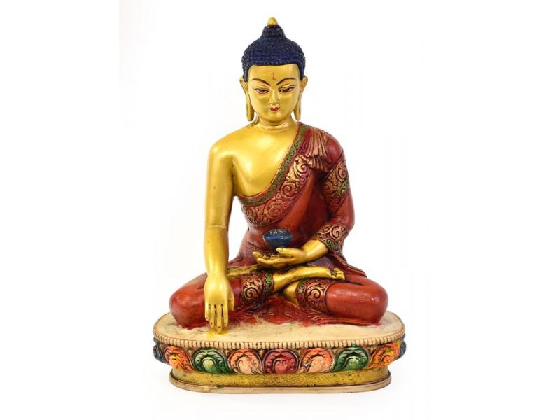 Buddha Šákjamuni, pryskyřice, pozlacený, ručně vyřezávaný, 27cm
