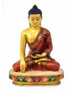 Buddha Šákjamuni, pryskyřice, pozlacený, ručně vyřezávaný, 12x11x22cm