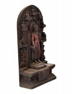 Buddha Maitréja, pryskyřice, ručně vyřezávaný, 21x8x37cm