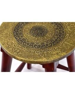 Stolička z palisandu zdobená mosazí, 30x30x45cm