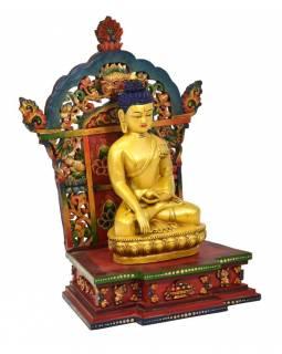 Dřevěný trůn s keramickou sochou Buddhy Šakjamuniho, 32x22x50cm