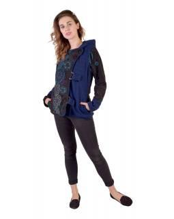 Krátký fleecový kabátek s kapucí, modrá, zapínaní na zip, potisk a výšivka mand