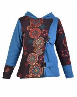 Krátký fleecový kabátek s kapucí, modrý, zapínaní na zip, potisk a výšivka mand