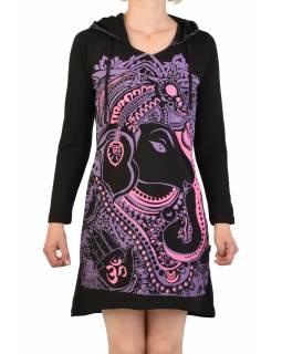 Krátké šaty s dlouhým rukávem a kapucí, černé, růžovo-fialový potisk Ganeshi
