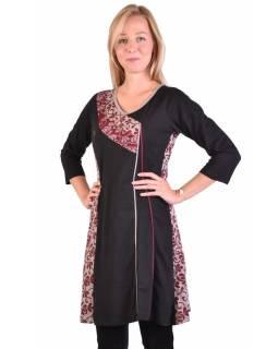 Krátké šaty s 3/4 rukávem, černo-vínové, potisk květin