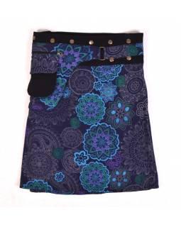 Polodouhá tmavě modrá sukně zapínaná na patentky, kapsa, mandala print