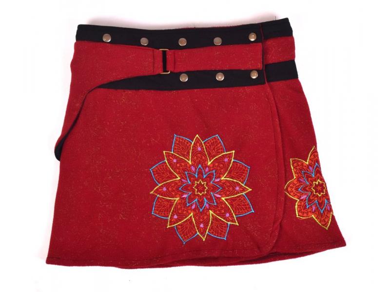 Krátká fleecová sukně zapínaná na patentky, Mandala design, vínová, kapsička