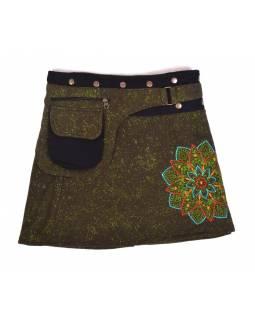 Krátká fleecová sukně zapínaná na patentky, Mandala design, khaki, kapsička