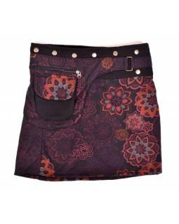 Krátká fleecová sukně zapínaná na patentky, Mandala design, černo-červená, kapsa