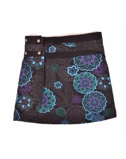 Krátká fleecová sukně zapínaná na patentky, Mandala design, černo-modrá, kapsa