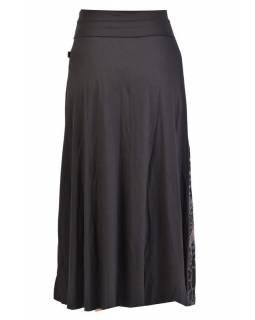 Dlouhá černá sukně s potiskem a výšivkou, elastický pas