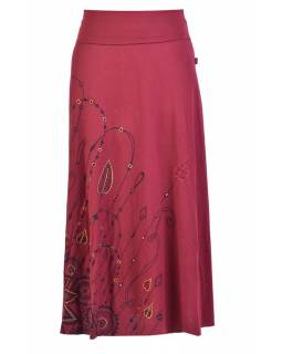 Dlouhá vínová sukně s potiskem a výšivkou, elastický pas