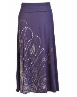 Dlouhá tmavě modrá sukně s potiskem a výšivkou, elastický pas