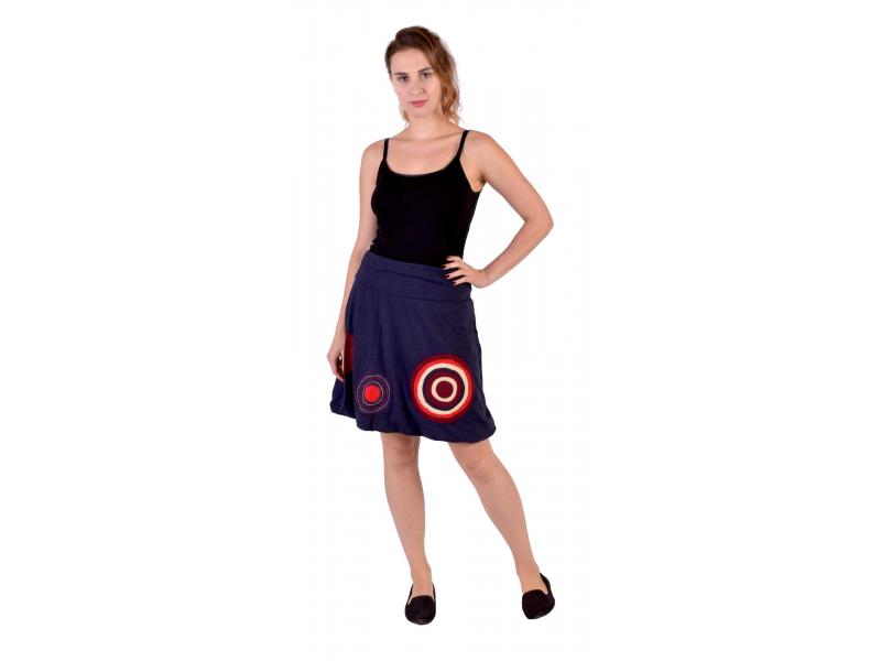 Krátká balonová sukně, tmavě modrá, kruhové aplikace, elastický pas