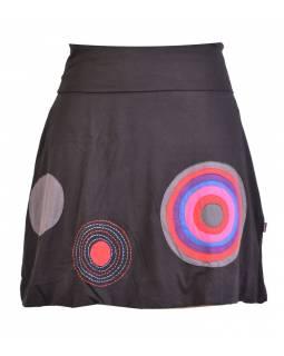 Krátká balonová sukně, černá kruhové aplikace, elastický pas