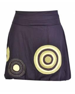Krátká balonová sukně, černá, kruhové aplikace, elastický pas