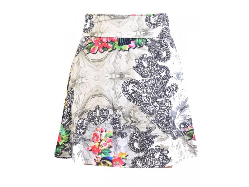 Krátká sukně, elastický pas, potisk papoušků a květin