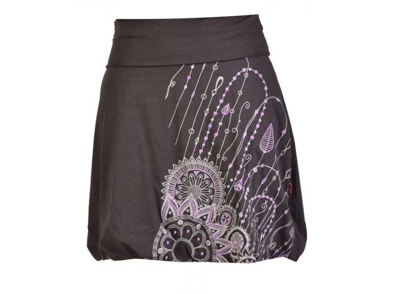 Krátka balonová sukně, černá s potiskem a výšivkou, elastický pas
