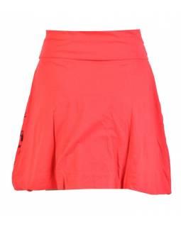 Krátka balonová sukně, červená s potiskem a výšivkou, elastický pas