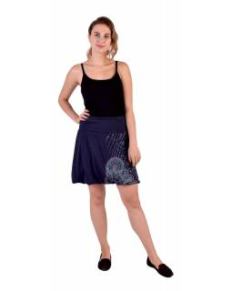 Krátka balonová sukně, tmavě modrá s potiskem a výšivkou, elastický pas