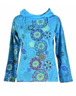 Tyrkysové tričko s dlouhým rukávem a límcem, mandala design