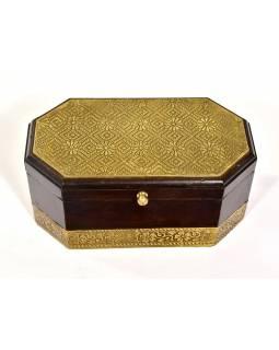 Dřevěná ozdobná krabička (šperkovnice), mosazné kování, 21x12x10cm