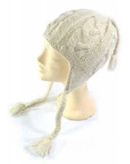 Čepice s ušima, dámská, bílá, proplétaný design, podšívka