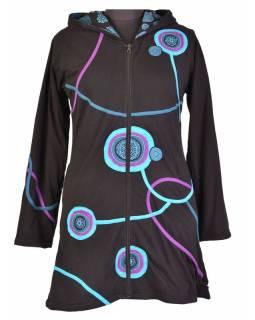 Prodloužená černo-fialová mikina s kapucí zapínaná na zip, mandala potisk