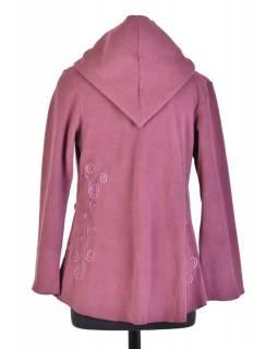 Švestkový asymetrický kabátek s kapucí zapínaný na knoflík, fialová výšivka